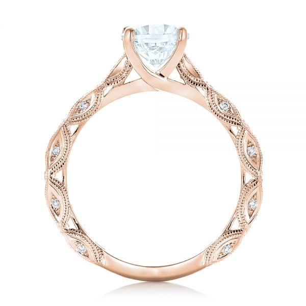 14k Rose Gold 14k Rose Gold Diamond In Filigree Engagement Ring - Front View -