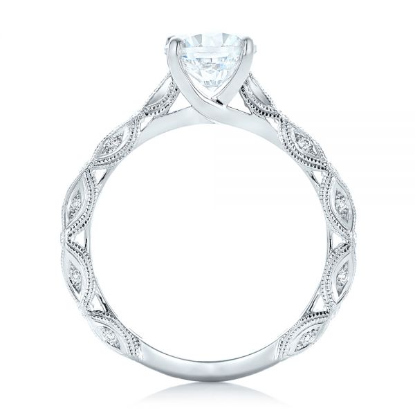 14k White Gold Diamond In Filigree Engagement Ring - Front View -