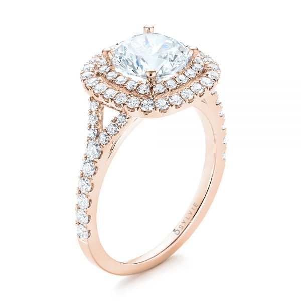14k Rose Gold 14k Rose Gold Double Halo Diamond Engagement Ring - Three-Quarter View -