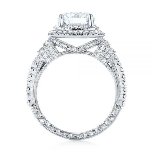 Double Halo Diamond Engagement Ring - Front View -  103712 - Thumbnail