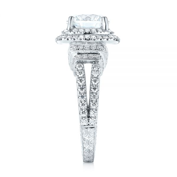 Double Halo Diamond Engagement Ring - Side View -  103712 - Thumbnail