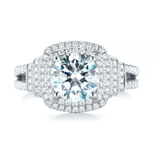 Double Halo Diamond Engagement Ring - Top View -  103712 - Thumbnail