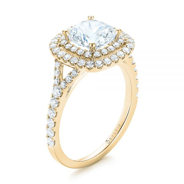 14k Yellow Gold 14k Yellow Gold Double Halo Diamond Engagement Ring - Three-Quarter View -