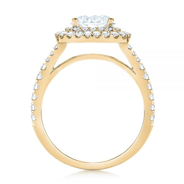 14k Yellow Gold 14k Yellow Gold Double Halo Diamond Engagement Ring - Front View -