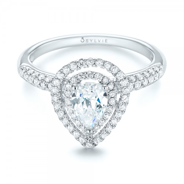 Double Halo Diamond Engagement Ring - Laying View