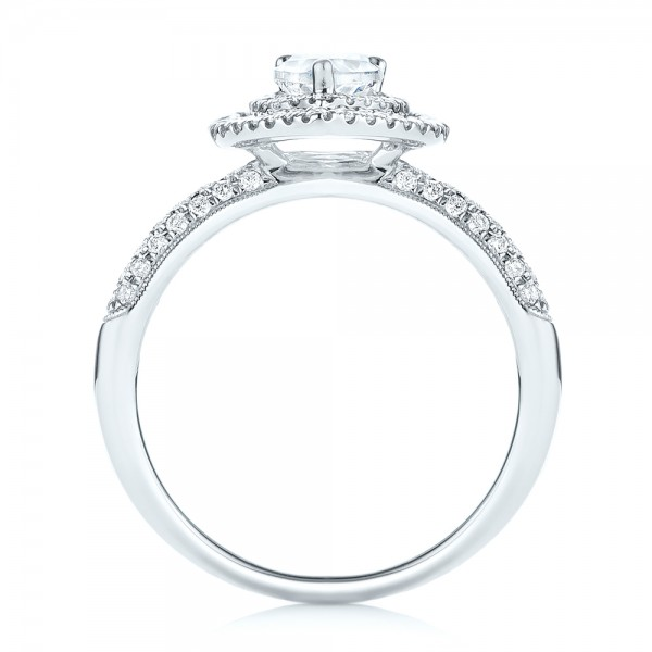 Double Halo Diamond Engagement Ring - Finger Through View