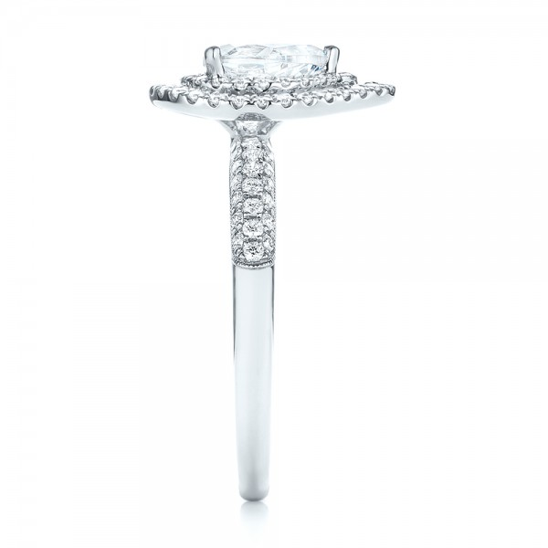 Double Halo Diamond Engagement Ring - Side View