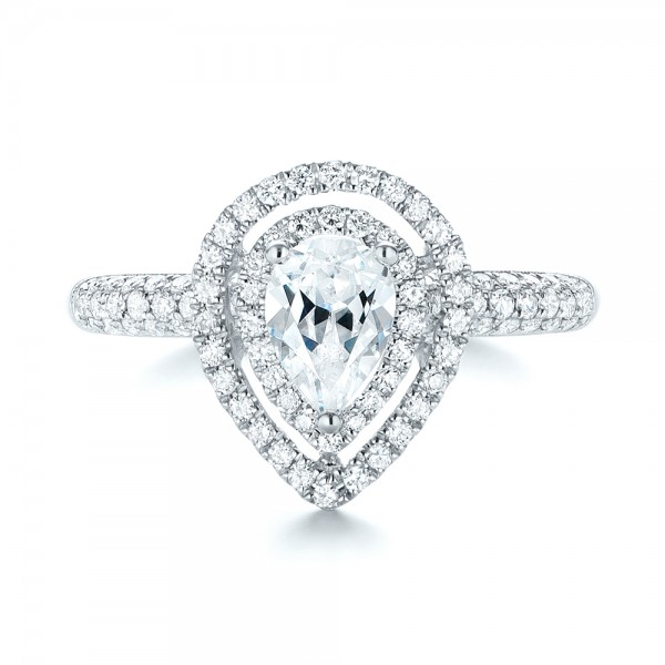 Double Halo Diamond Engagement Ring - Top View