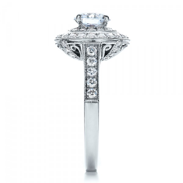 Double Halo Engagement Ring - Vanna K - Side View