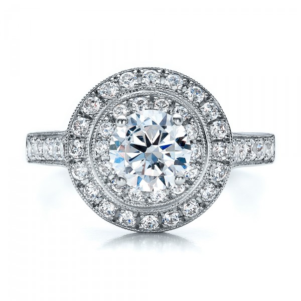 Double Halo Engagement Ring - Vanna K - Top View