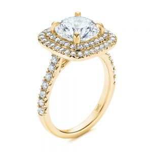 Double Halo French Cut Diamond Engagement Ring - Image
