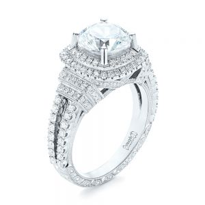 Double Halo Hearts and Arrows Diamond Engagement Ring
