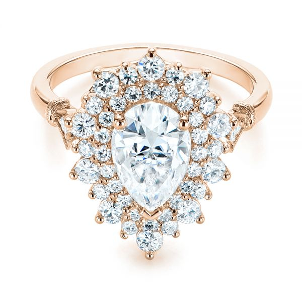 18K Rose Gold Double Halo Pear Moissanite Engagement Ring - Flat View -  105108 - Thumbnail