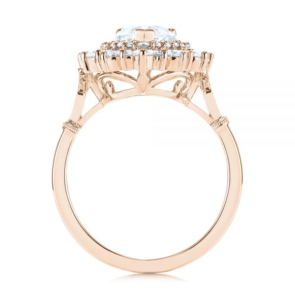 18K Rose Gold Double Halo Pear Moissanite Engagement Ring - Front View -  105108 - Thumbnail