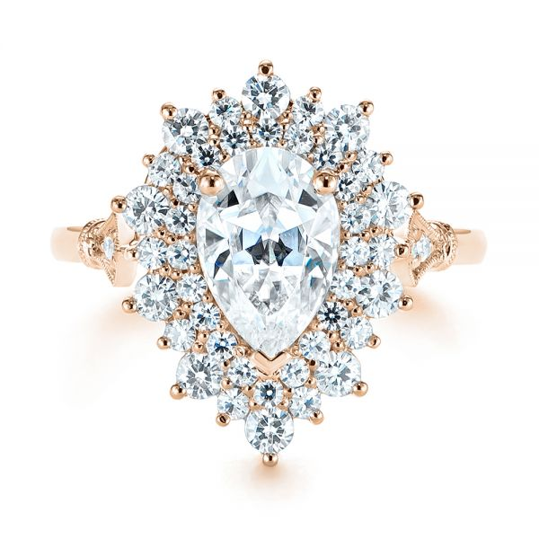 18K Rose Gold Double Halo Pear Moissanite Engagement Ring - Top View -  105108 - Thumbnail