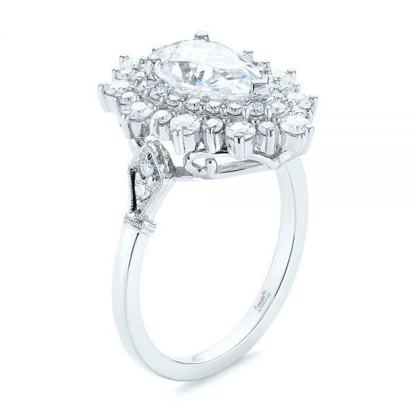 Double Halo Pear Moissanite Engagement Ring - Image