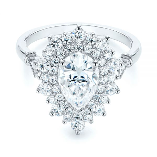 123790d1a23a3 Double Halo Pear Moissanite Engagement Ring