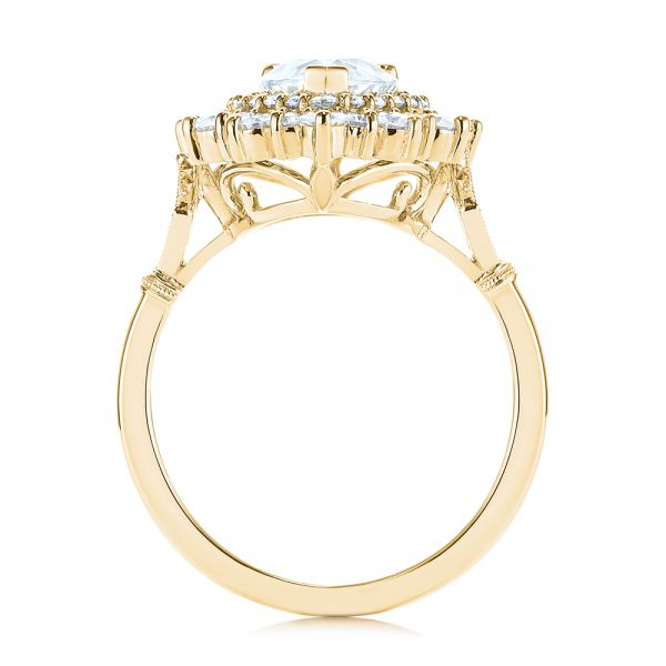 14K Yellow Gold Double Halo Pear Moissanite Engagement Ring - Front View -  105108 - Thumbnail