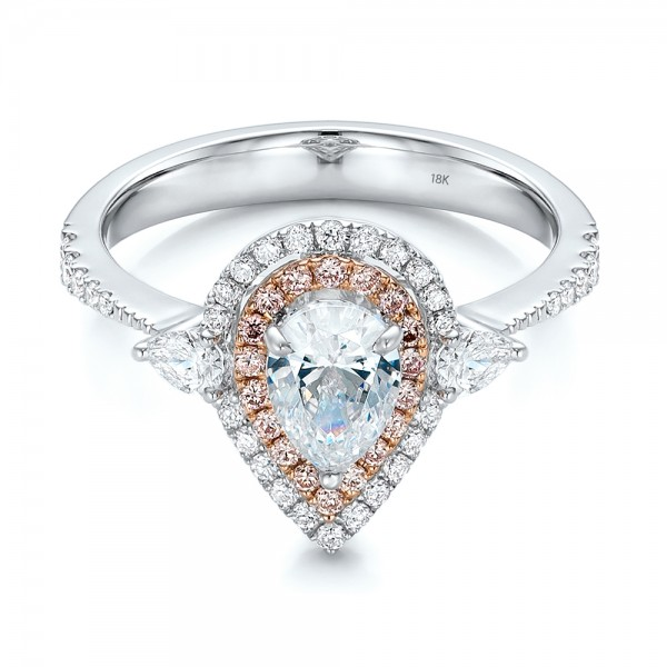 Double Halo White and Fancy Pink Diamond Engagement Ring - Laying View