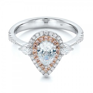 Double Halo White and Fancy Pink Diamond Engagement Ring