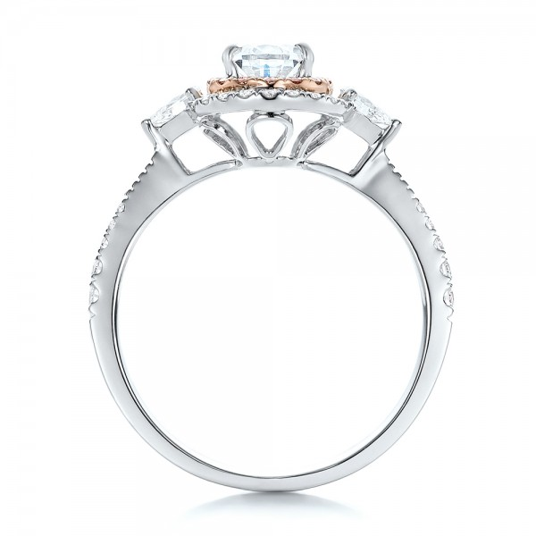 Double Halo White and Fancy Pink Diamond Engagement Ring - Finger Through View