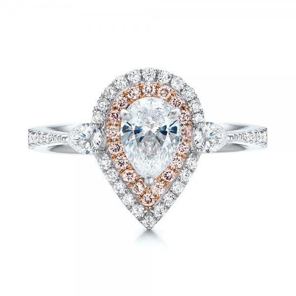 Double Halo White and Fancy Pink Diamond Engagement Ring - Top View