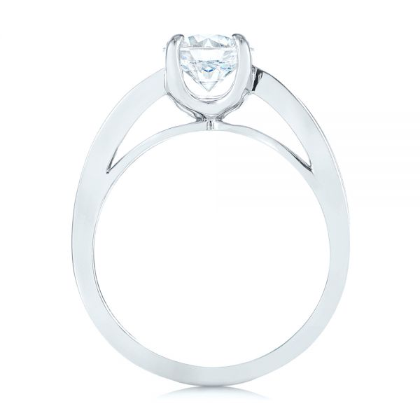18k White Gold Double Strand Solitaire Diamond Engagement Ring - Front View -