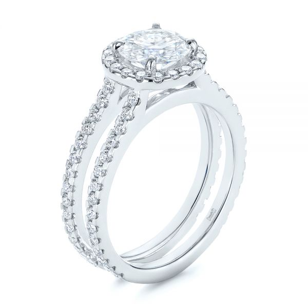 Dual Shank Interlocking Moissanite Halo Engagement Ring - Image