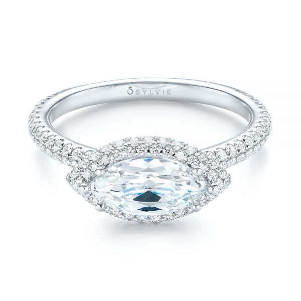 East-West Halo Diamond Engagement Ring - Flat View -  103065 - Thumbnail