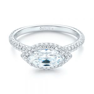 East-West Halo Diamond Engagement Ring