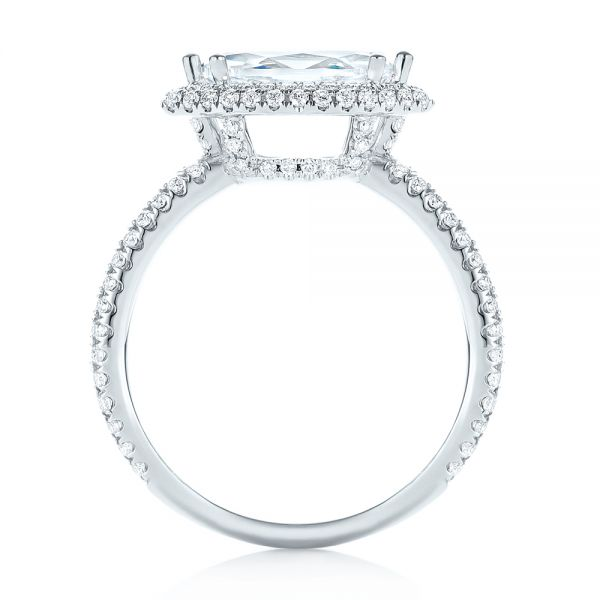 East-West Halo Diamond Engagement Ring - Front View -  103065 - Thumbnail