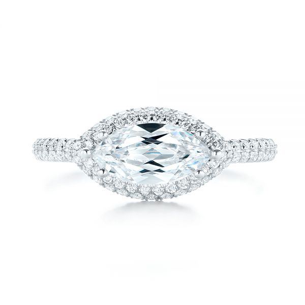East-West Halo Diamond Engagement Ring - Top View -  103065 - Thumbnail