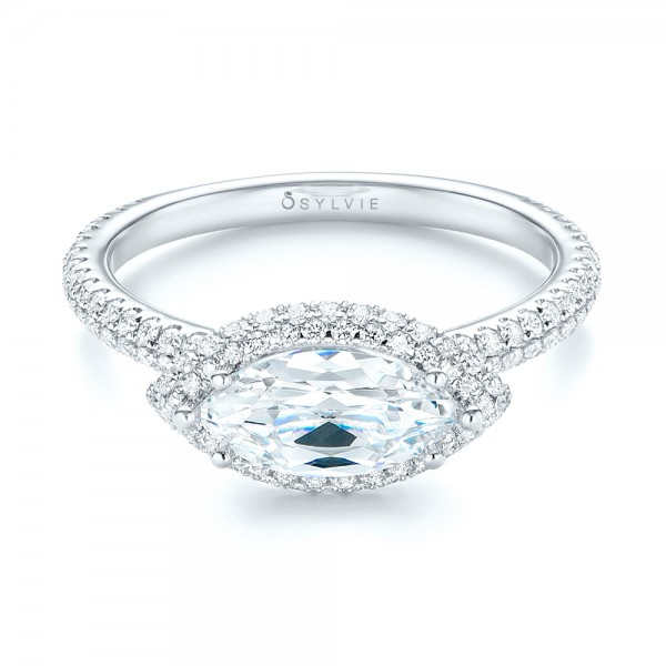 East-West Halo Diamond Engagement Ring - Laying View