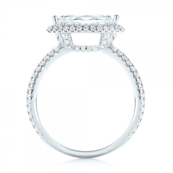 East-West Halo Diamond Engagement Ring - Finger Through View