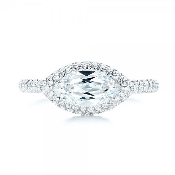 East-West Halo Diamond Engagement Ring - Top View