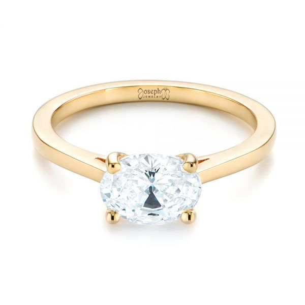14k Yellow Gold East-west Solitaire Diamond Engagement Ring - Flat View -  104659