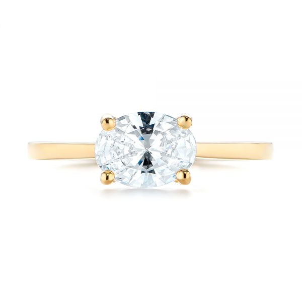 14k Yellow Gold East-west Solitaire Diamond Engagement Ring - Top View -  104659
