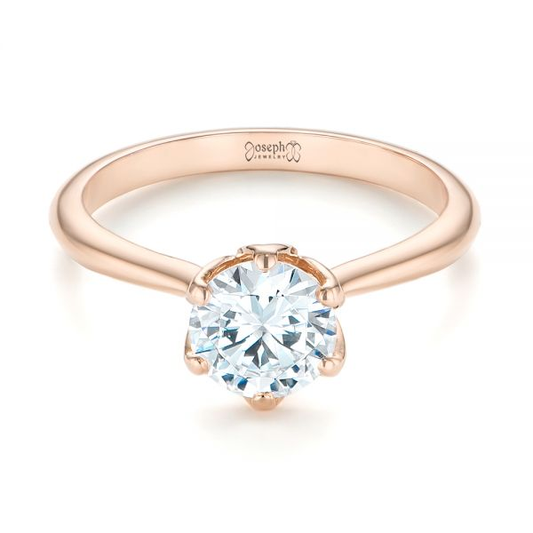 14k Rose Gold Elegant Solitaire Engagement Ring - Flat View -
