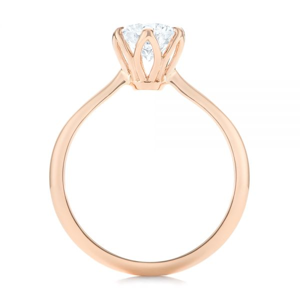 14k Rose Gold Elegant Solitaire Engagement Ring - Front View -