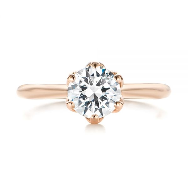 14k Rose Gold Elegant Solitaire Engagement Ring - Top View -
