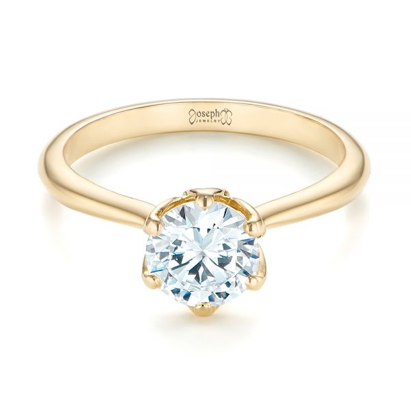 14k Yellow Gold Elegant Solitaire Engagement Ring - Flat View -