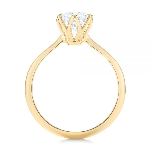 14k Yellow Gold Elegant Solitaire Engagement Ring - Front View -