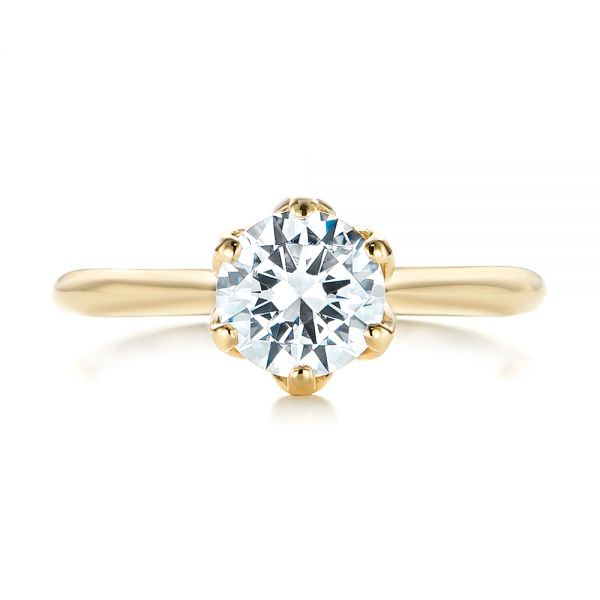 14k Yellow Gold Elegant Solitaire Engagement Ring - Top View -