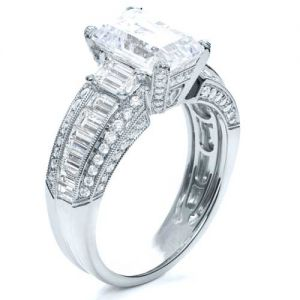 Emerald Cut Diamond Engagement Ring - Image