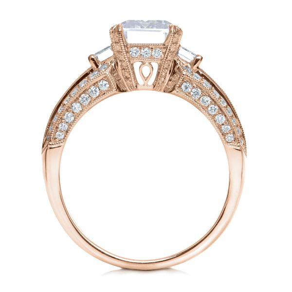 14k Rose Gold 14k Rose Gold Emerald Cut Diamond Engagement Ring - Front View -
