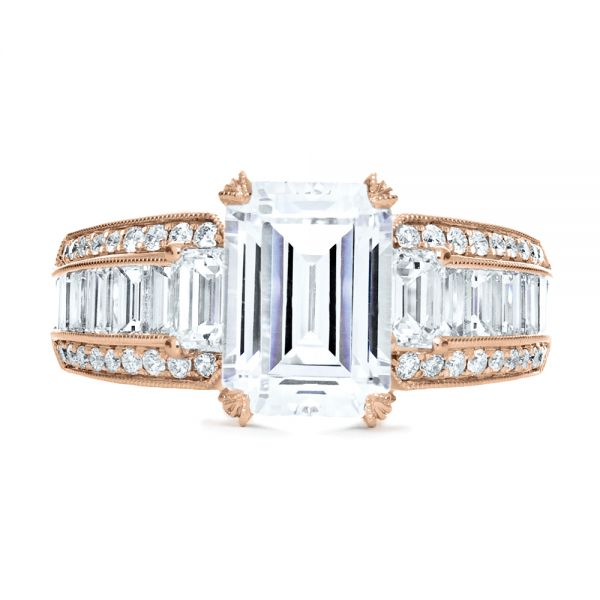 14k Rose Gold 14k Rose Gold Emerald Cut Diamond Engagement Ring - Top View -