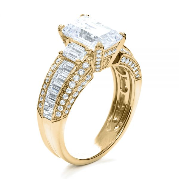 14k Yellow Gold 14k Yellow Gold Emerald Cut Diamond Engagement Ring - Top View -