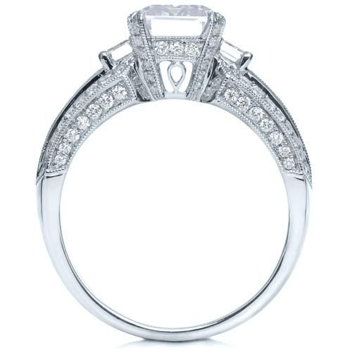 Emerald Cut Diamond Engagement Ring - Finger Through View