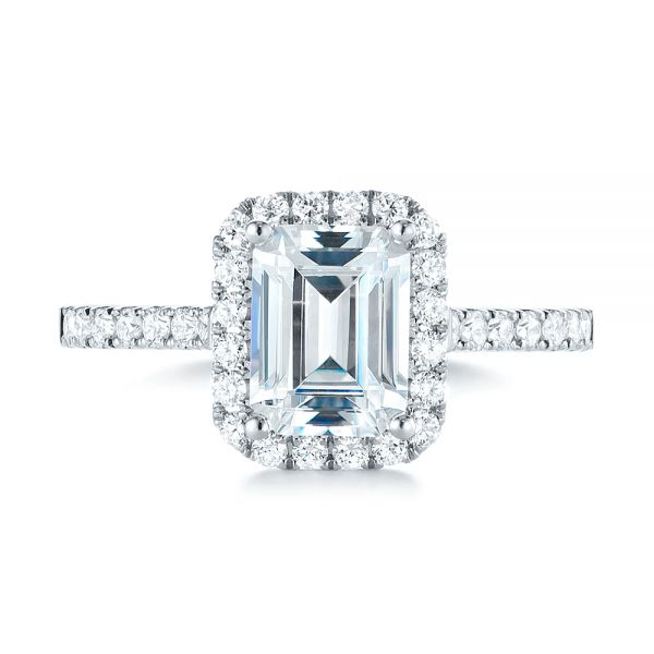 Emerald Halo Diamond Engagement Ring - Top View -  103997 - Thumbnail