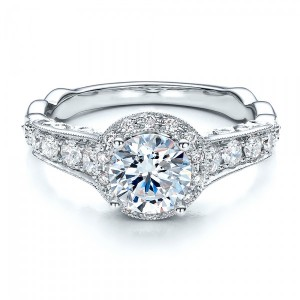 Engagement Ring Tapered Diamond Side Stones - Vanna K